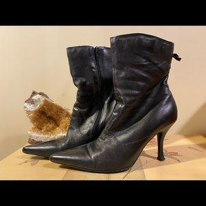 BCBG Black Leather Ankle Boots